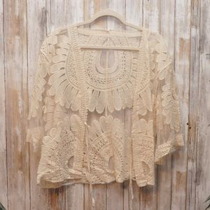 Sweaters - Embroidered Mesh Cropped Cardigan NWOT